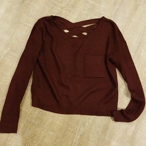 Crisscross Back Merlot Sweater